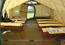 Зонирование внутреннего пространства армейской палатки Роснар Р-75